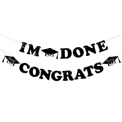 Graduation Themes For High School (I'm Done Congrats Graduation Banner - Grad Cap Celebrate Graduate Party Garland - Master Ph.D Graduation - High School College Graduate Themes Party)