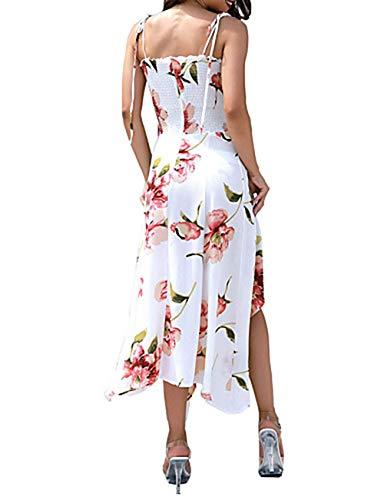 Corte L Vestido Swing White Cuadrado Maxi JIZHI Mujer Escote pqOcw5x
