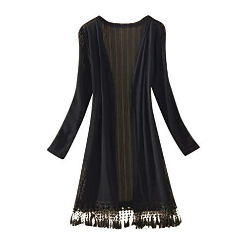 Londony❀♪ Women's Floral Print Sheer Chiffon Loose Kimono Cardigan Capes Long Embroidered Lace Kimono Cardigan Coat Black