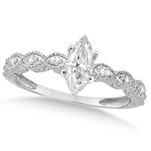 Women's Preset Marquise Antique Diamond Engagement Ring in 14k White Gold (1.00 carat)