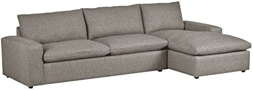 Magnificent Stone Beam Chaise Hoffman Down Filled Chaise Sectional Sofa Couch 87 5W Grey Tweed Pabps2019 Chair Design Images Pabps2019Com