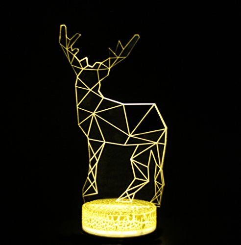 Deer 3D Illusion Nightlight Warm white Table Desk Lamp with Acrylic Flat & ABS Base & USB Cable Powered for Christmas Gifts Home (Fun Tropical Table Lamp)