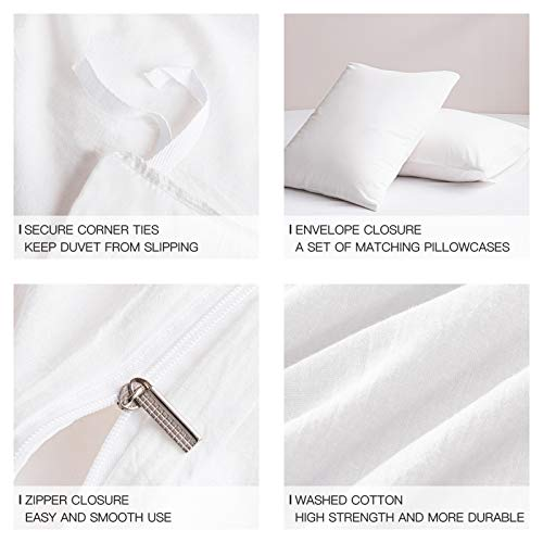 NEWLAKE Duvet Cover Queen,Washed Cotton Duvets Cover Sets, Solid Color Comforter Cover Set with Zipper Closure & Corner Ties, White
