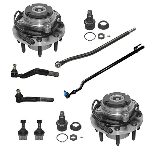 Axle Bearing Ball (Detroit Axle - 10PC Front Wheel Hub & Bearing Assembly, Upper Lower Ball Joints, Inner and Outer Tie Rods for 1999-2004 Ford F-350/F-250 Super Duty SRW - Coarse Threads 4x4 w/ABS)