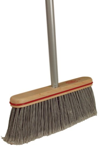 6 Pack Harper Brush 10804A 12'' Smooth Surface Upright Broom w/Handle - Gray by Harper Brush