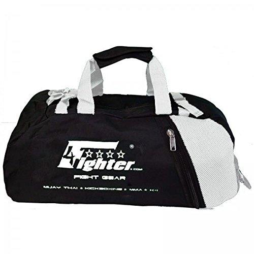 4Fighter Gymbag M Trainingstasche mit Rucksackfunktion in schwarz-weiß 60cm x 30cm x 30cm
