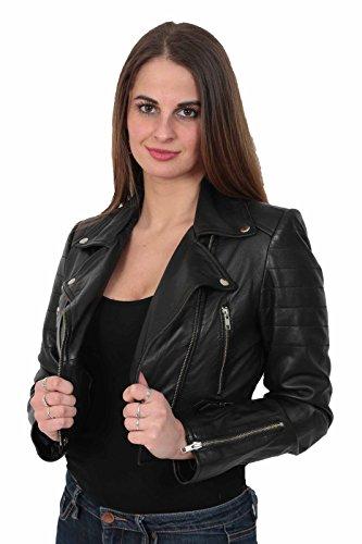erstklassiges echtes reich und großartig verschiedene Farben A1 FASHION GOODS Damen Biker Schwarz Lederjacke kurz Ausgestattet Kurz  Geschnittene Bustier Art-Mantel - Amanda