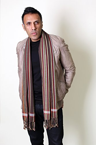 Men's George Modern Multicolor Stripe Scarf Natural Cotton, Brown by Anika Dali (Image #4)