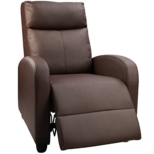 Devoko Manual Single Recliner Chair PU Leather Modern Living Room Sofa Padded Cushion Adjustable Home Theater Seating (Brown)