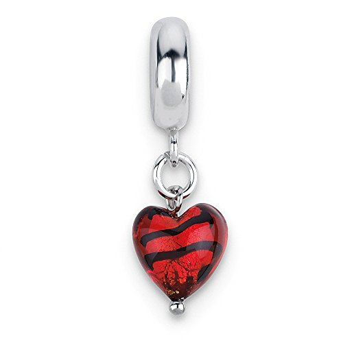 (Murano Glass & Sterling Silver Red Striped Heart Dangle Bead Charm)