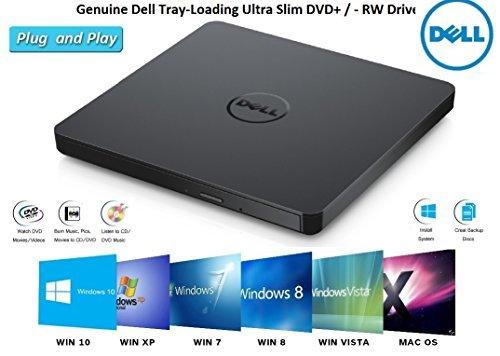 Dell DVD Drive External USB Ultra Slim +/-RW Plug & Play DVD/CD RW Rom Drive Writer Burner for Dell, HP, Lenovo, Acer Laptop / Desktop / Ultrabook -