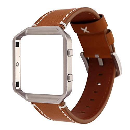Price comparison product image for Fitbit Blaze Luxury Leather Watch Band Wrist Strap+Metal Frame, Outsta Fashion Wrist Strap Bracelet Accessories Women Men Multicolor (Brown A)