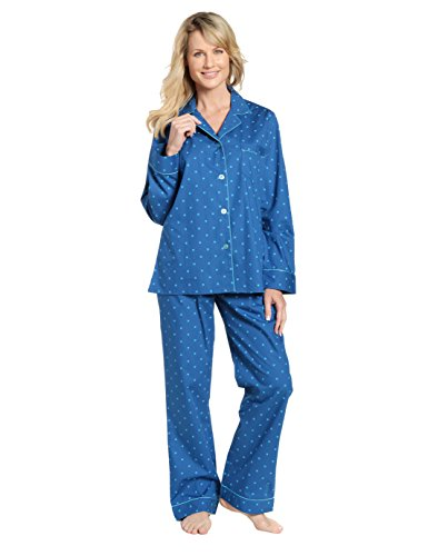 Womens 100% Cotton Poplin Pajama Sleepwear Set - Dots Blue - Large