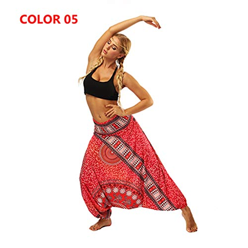 Soft Loose Yoga Pants Drop Crotch Harem Pants Elastic Waist Printed Hippies Baggy Gypsy Tribal Style (Color 05,One Size) (05 Gypsy Clothes)
