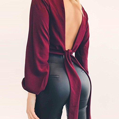 Gotd Women Solid Sexy Long Sleeve Deep V-neck Tunic Tops Blouse Shirt Work (S, Wine) by Goodtrade8 (Image #3)