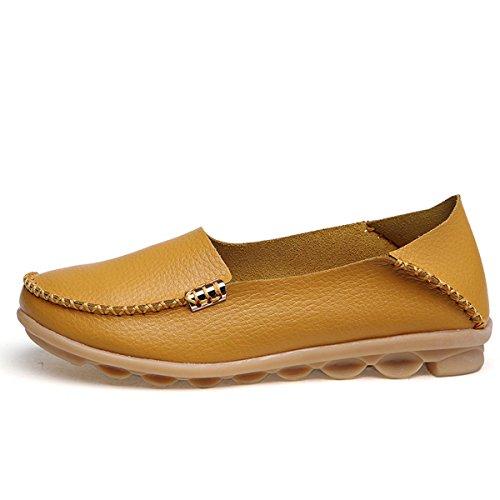 fisca Mujer Tanner Pebbled Controladores Piel Casual Mocasines Planos Barco Zapatos amarillo