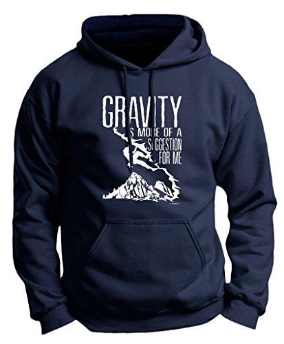 Rock Climbing Gift Gravity More of a Suggestion Premium Hoodie Sweatshirt Small Navy