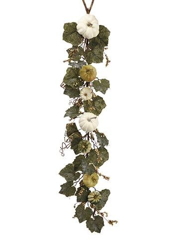 Allstate Floral & Craft Fake Fall Grape Leaf Garland with Cream Pumpkins & Gourds - 4' Long by Allstate Floral & Craft