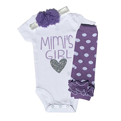 Baby Girl Outfit Grandma Mimi's Girl Long Sleeve 3 Piece Set Baby Girl Clothes (3M) -