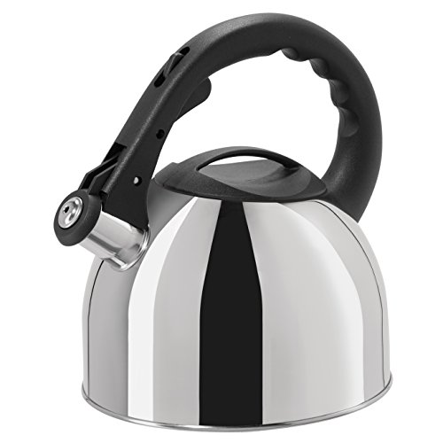 Oggi Whistling Tea Kettle with Nylon Stay Cool Handle & Trigger Opening Spout, 2.5 L/85 oz, Stainless Steel - 2.5l Whistling Kettle