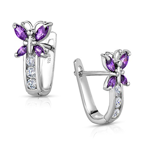 Girls 925 Sterling Silver Butterfly Huggie Earrings in CZ and Simulated Birthstones with Secure Backs