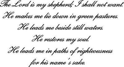 Psalm 23, Bible Verse Wall Decals, Scripture, Vinyl Art, Stickers, Love Quotes