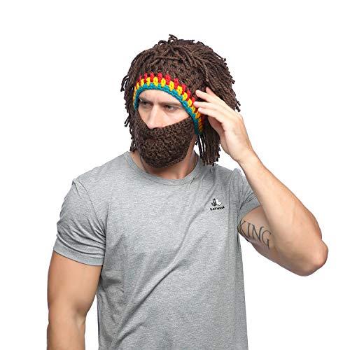 Jenny Shop Beard Wig Hats Handmade Knit Warm Winter Caps Men Women Kid, Brown -