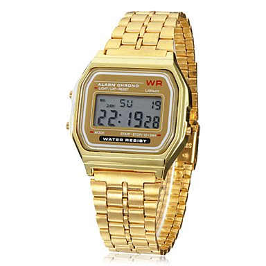 Unisex Multi-Function Square LCD Dial Alloy Band Digital Watch (Gold)