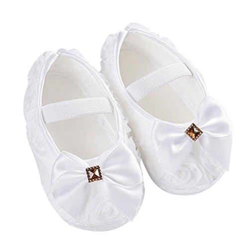Newborn Walking Shoes,Kimanli Toddler Kid Baby Girl Rose Bowknot Elastic Band (0~6months, White)