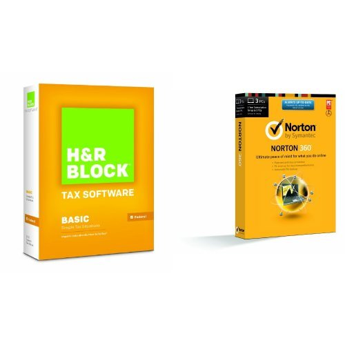 Bundle: H&R Block At Home 2013 Basic with Norton 360 2014 - 1 User / 3 Licenses (Hr Block Tax Software 2014 Mac)