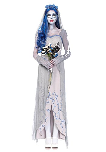 Corpse Bride Costumes - Leg Avenue Women's 4 Piece Corpse Bride Costume, Grey/Blue, Medium/Large