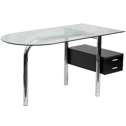 Flash Furniture Glass Computer Desk with Two Drawer Pedestal by Flash Furniture
