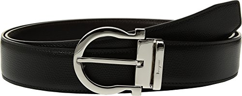(Salvatore Ferragamo Men's Adjustable & Reversible Belt - 679781 Black/Hickory 36)