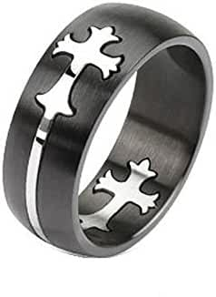 Stainless Steel Two Tone Dome Band Ring with Cut Out Celtic Cross, Width 8MM