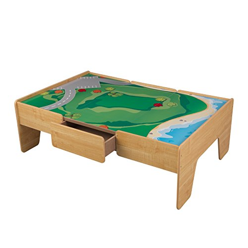 KidKraft Wooden Play Table Train Table (Activity Table With Storage)