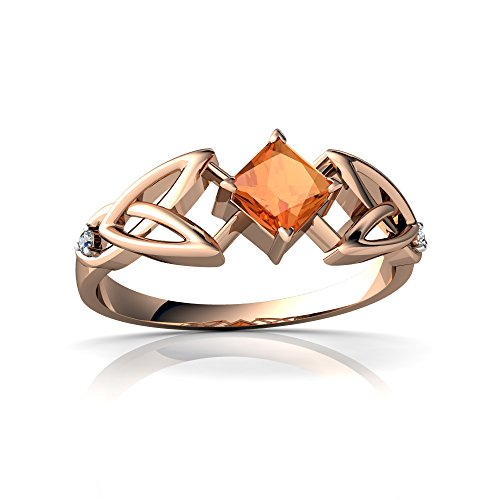 (14kt Rose Gold Fire Opal and Diamond 4mm Square Celtic Trinity Knot Ring - Size 9)