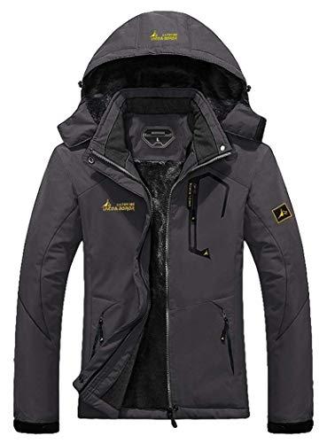 MOERDENG Women's Waterproof Ski Jacket Warm Winter Snow Coat Mountain Windbreaker Hooded Raincoat, Darkgrey, X-Large (Warmest Ski Jacket Women)