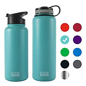 Bottlebottle 32 oz Insulated Stainless Steel Water Bottle with Bonus Lid, Double Wall Vacuum Sealed Flask, Wide Mouth, BPA Free, Cold 24 Hrs / Hot 12 Hrs - Freshing Blue