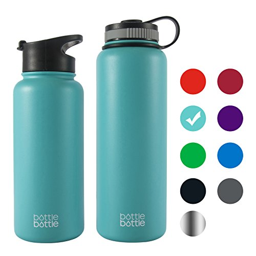 Bottlebottle 32 oz Insulated Stainless Steel Water Bottle with Bonus Lid, Double Wall Vacuum Sealed Flask, Wide Mouth, BPA Free, Cold 24 Hrs / Hot 12 Hrs - Freshing Blue (Easy Halloween Party Drinks)