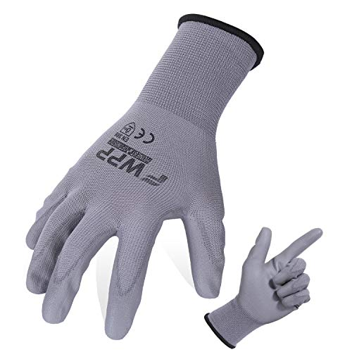 (FWPP Gary PU Coated Antistatic Work Gloves for Electronic,Nylon Flexible Skin Safety Gloves for Automobil,Breathable Light Weight Soft (Large-6Pairs))
