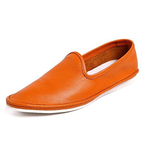 Santimon Menns Loafers Elastisk Skrapemerker Tøffel Moccasin Slip-on Sommer  Våren Sko Oransje