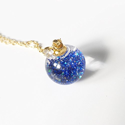 Glitter Ball Pendant - Blue Crystal Glass Ball Necklace - Valcano Ash Glitter - Water Inside - Orb Pendant Prism Charm Snow flakes - Bling - Gold - Diamond - Party