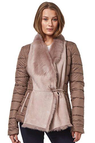 Chaqueta acolchada de piel de oveja Tuscana de piel de oveja de EMILY en color rosa