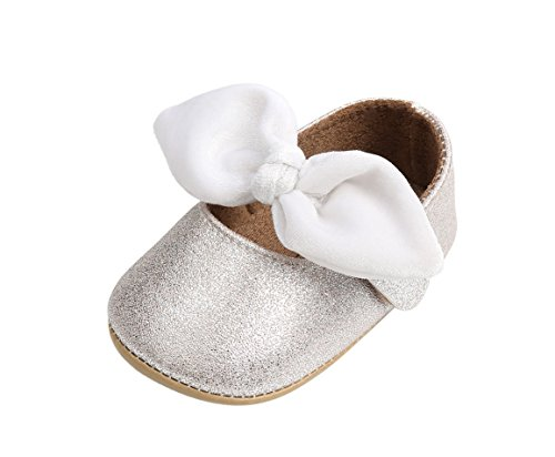 Infant White Leather Footwear - Bebila Baby Girls Shoes Mary Jane Hard Sole Sandals PU Leather Newborn Shoes Bow-Knot Toddler Moccasins (12cm(6-12months), White)