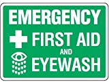 Plastic First Aid And Eyewash Sign - 7''h x 10''w EMERGENCY FIRST AID AND EYEWASH W/ SYMBOLS