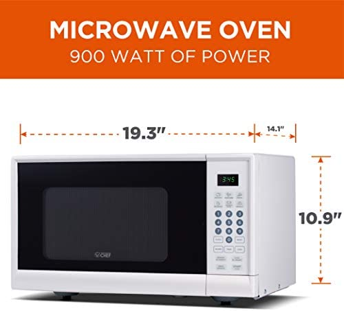 Commercial Chef CHM990W 900 Watt Counter Top Microwave Oven, 0.9 Cubic Feet, White Cabinet