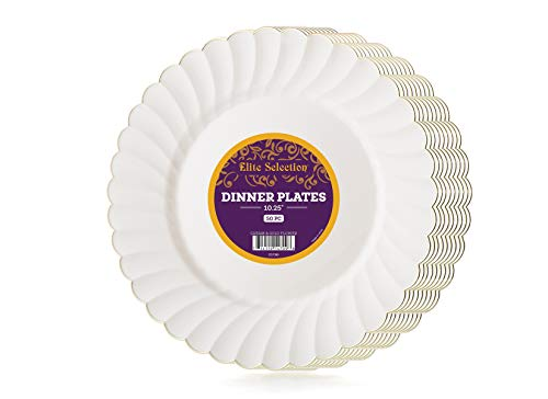 Elite Selection Pack Of 50 Disposable Party Plastic Plates Cream Ivory Color With Gold Flower Rim (10.25)