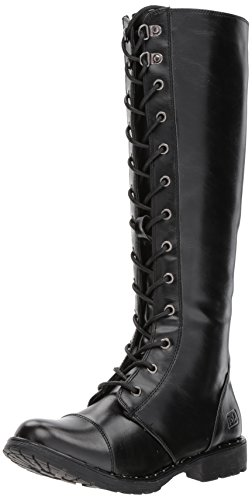 Dirty Laundry by Chinese Laundry Women's Roset Combat Boot, Black Smooth,  8 M US (Studded Knee High Boots)