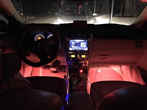 Car LED Strip Lights,Unpopular 4pcs 48 LED USB Car Interior Music Multicolor Rope Lights Atmosphere Decorative SMD Neon Lamp Lighting with Sound Active Function,Wireless Remote Control(USB Port) by UNPOPULAR (Image #7)