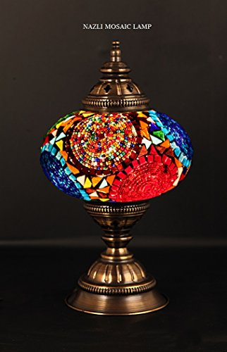 Mosaic Table Lamp, Stained Glass Shade, Turkish Light, Moroc